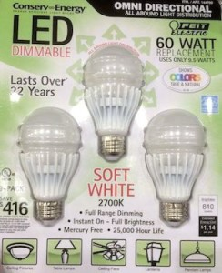 3 pack of LED bulbs from CostCo