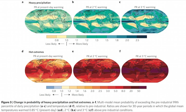 Global map of extreme precipitation and heat