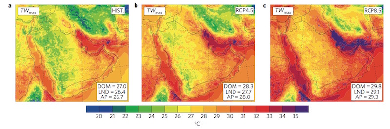 Projection of Persian Gulf temps by 2100