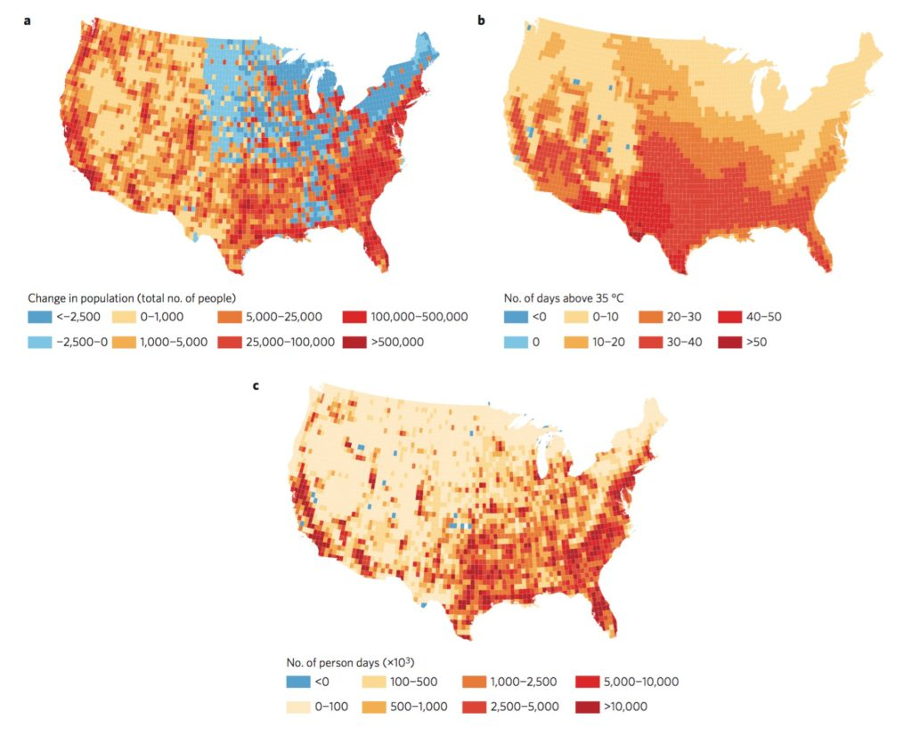 Projected increase in people exposed to extreme heat in the US by 2100 A.D.