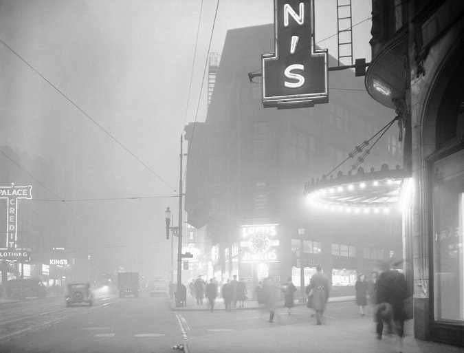 Dirty air blots out the sun, Pittsburgh at high noon, 1944.